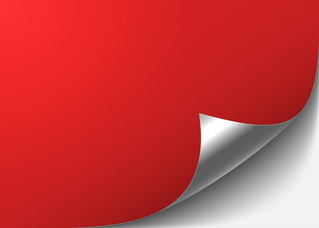 Red abstract background with a bent silver corner.