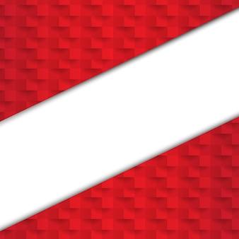 Красный абстрактный фон с бумажным баннером с градиентной сеткой