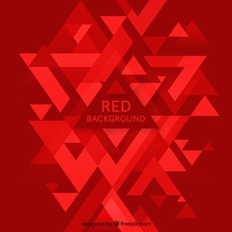 Red abstract background with triangles