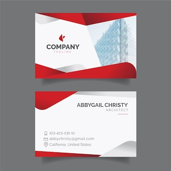 Red abstract business card template with photo Premium Vector