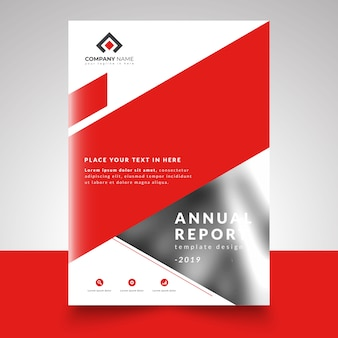 Red abstract business design annual report template