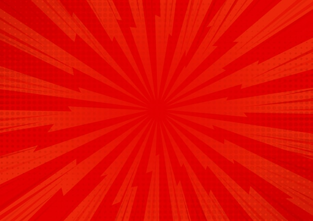 Red abstract comic cartoon sunlight background.