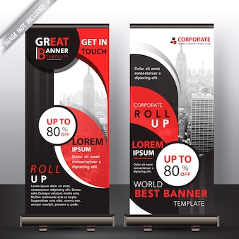 Red abstract company roll up design
