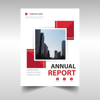 Шаблон обложки обложки красного креативного годового отчета