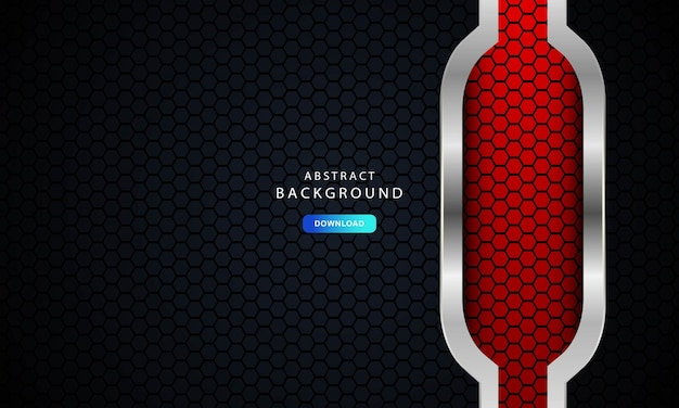 Red abstract dark background vector, modern corporate concept with silver effect