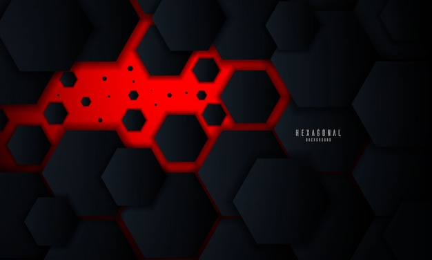 Red abstract hexagonal glowing background