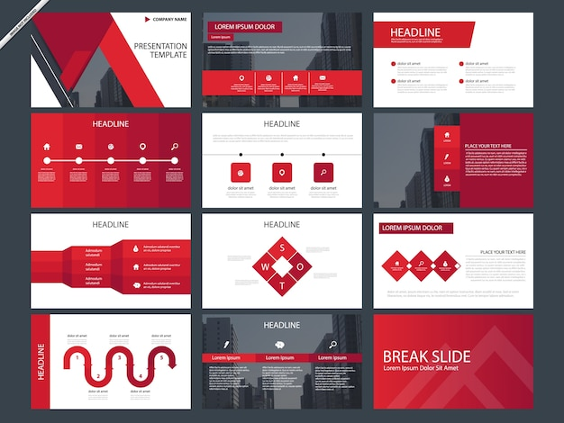 Red abstract presentation templates infographic