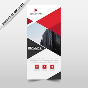 赤い抽象的な三角形ビジネスロールアップバナーフラットデザインテンプレート