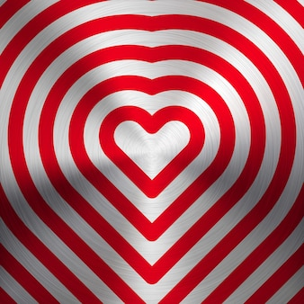 Red abstract valentines heart sign, pattern with realistic metal texture Premium Vector