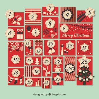 Red advent calendar in vintage style