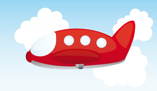 Red air plane cartoon over sky vector illustration
