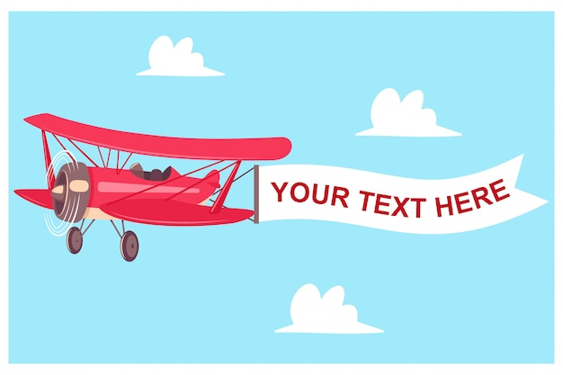 Red airplane with flight banner on a sky background with clouds