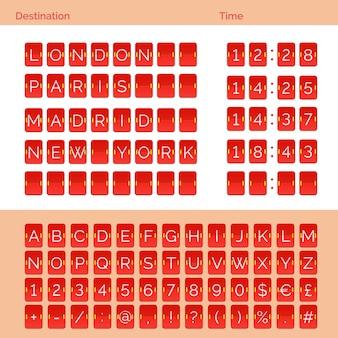 빨간 공항 플립 점수 판 알파벳, 숫자 및 기호. 벡터 eps10