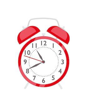 Красный будильник плоский векторные иллюстрации. часы в стиле ретро для пробуждения. мультяшный старинный хронометр с белым циферблатом и колоколами. раздражающее устройство напоминания о утреннем пробуждении, изолированное на белом.