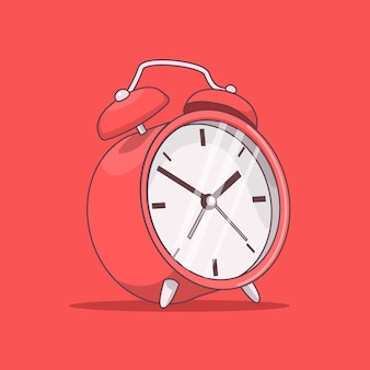 Red alarm clock isolated on red