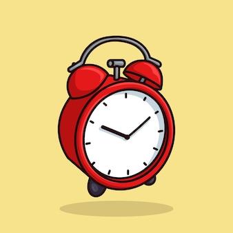 赤い目覚まし時計オブジェクトの概念漫画アイコンベクトル