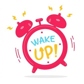 目覚めると振動して目覚まし音を大きくする赤い目覚まし時計。
