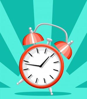 Red alarm clock wake-up time  style  illustration  on turquoise background website page and mobile app