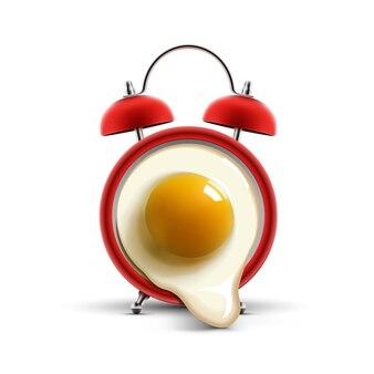 Красный будильник с яйцом