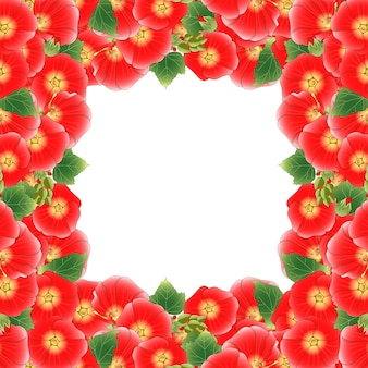 빨간 alcea rosea 국경
