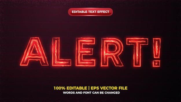 Красное предупреждение, электрическое свечение, жирный редактируемый текстовый эффект