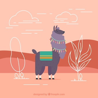 Red alpaca background