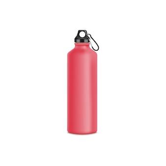 スポーツ用の赤いアルミウォーターボトル。金属製のツーリストスポーツボトルのリアルな分離。