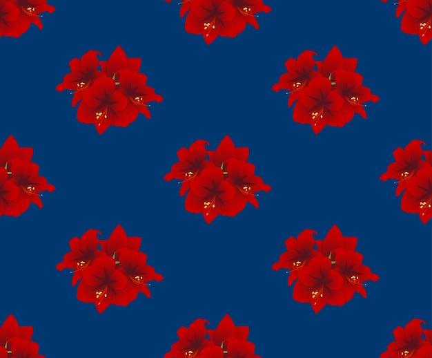 Red amaryllis on indigo blue background
