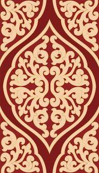 赤とベージュの抽象的なパターン。東洋の中世の装飾品。