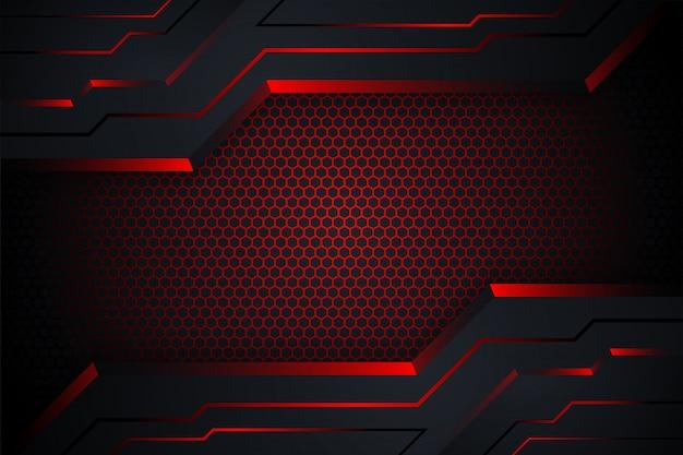 赤と黒の抽象的な技術の背景。六角形のグラデーションパターンと水平方向のレイアウト。