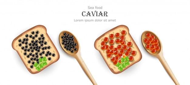 빨간색과 검은 색 캐비어 토스트