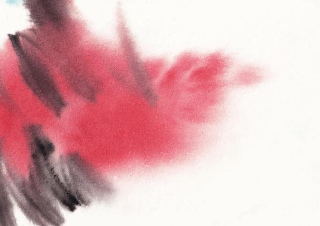 赤と黒の組み合わせのブラシストローク水彩画