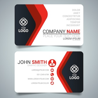 Red and black creative business card template design.