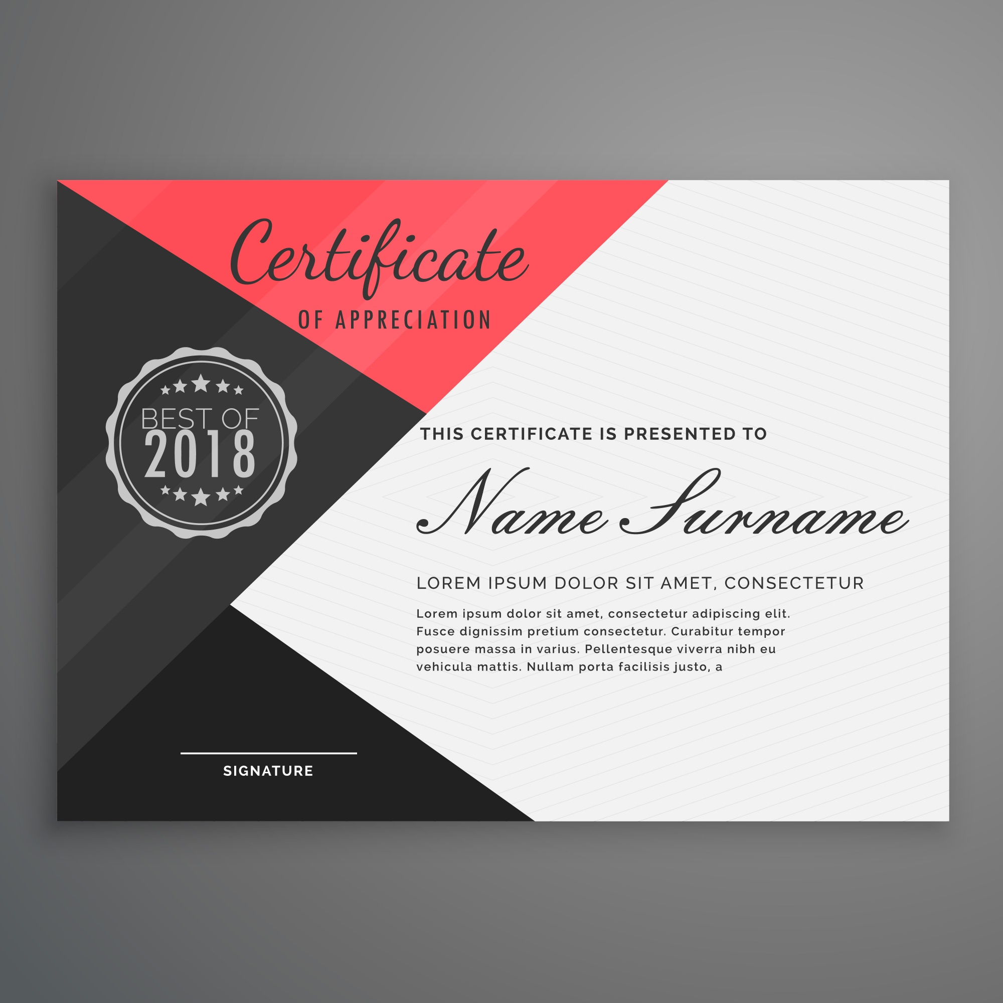 Red and black diploma design template