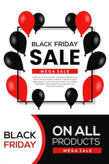 빨간색과 검은색 우아한 블랙 프라이데이 포스터 디자인