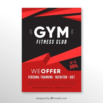 Red and black gym cover template