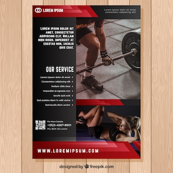 Red and black gym flyer template with image