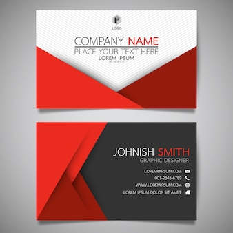 Red and black layout business card template.
