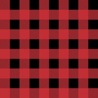 빨간색과 검은 색 등심 버팔로 격자 무늬 원활한 패턴