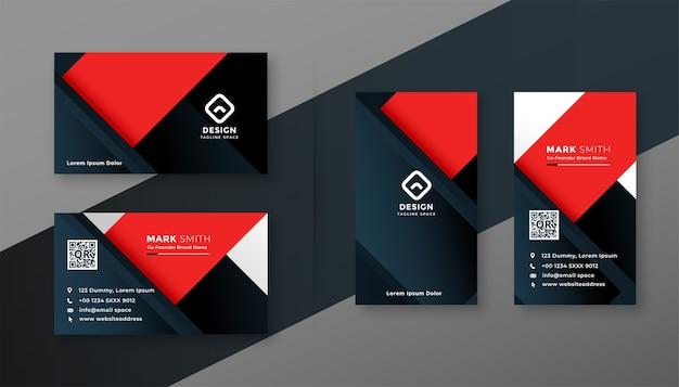 赤と黒のモダンなビジネスカードの幾何学的なテンプレート