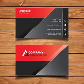 빨간색과 검은 색 현대 비즈니스 카드 템플릿