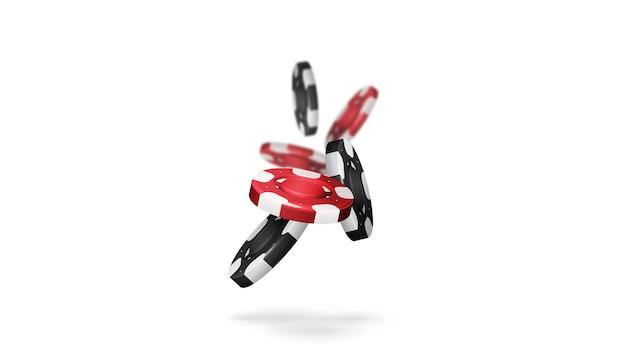 흰색 배경에 그림자가 있는 카지노 칩을 떨어뜨리는 빨간색과 검은색 현실적인 도박 스택