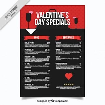 Красное и черное меню ресторана на день святого валентина