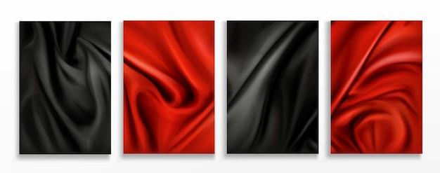 빨간색과 검은 색 실크 접힌 직물 배경 세트