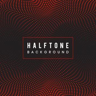 赤と黒の波状のハーフトーン背景ベクトル