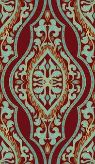 赤と青の抽象的なパターン。テキスタイルのオリエンタルテンプレート。