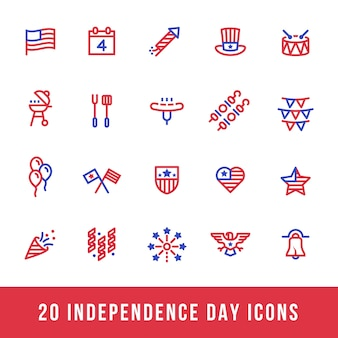 Red and Blue American Independence Day Icons Line