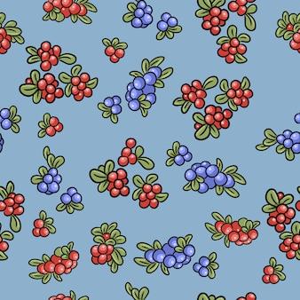 赤と青の果実カラフルなシームレスパターン。コケモモ、コケモモ、ブルーベリー