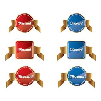 빨간색과 파란색 할인 리본 배너 세트