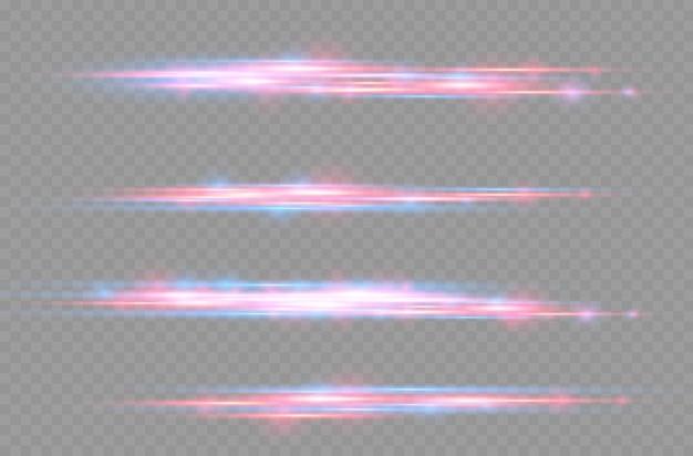 赤と青のレーザービームがきらびやかなラインモーションで光る水平光線